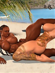 The sunny muscle beach is packed with bodybuilder hotties with large biceps, big perfectly shaped boobs and monstrous pussies and clits