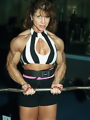 Michelle Ivers is very densely muscled in all body parts, her arms, chest, back and thighs are legendary