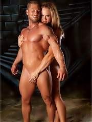 NPC female bodybuilder Amanda Folstad with her man nude