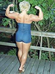 Kaylie Perry hits the shots in a dungaree 'jump suit' on the WPW wood deck- mostly upper body shots