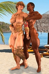3D muscular goddesses masturbate, enjoy girl-on-girl lesbian action and get fucked on heavenly beach